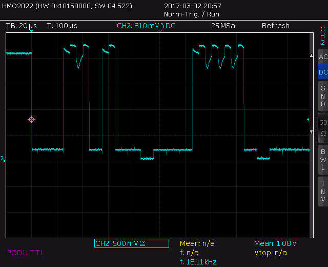 The wrong looking trace of SDA on the 1.8V side of the level translator